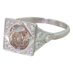 Art Deco 1.52 Carat Fancy Orangey Brown Old Cut Diamond Platinum Ring