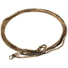 Edwardian 9 Karat Yellow Gold Long Guard Chain