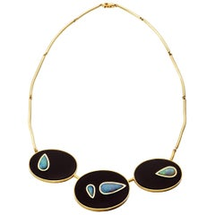 Yellow Gold Onyx and Australian Opal Necklace