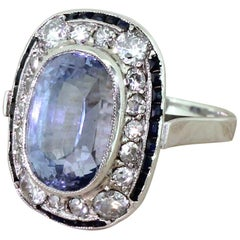 Art Deco 8.68 Carat Natural Ceylon Sapphire and Diamond Cluster Ring