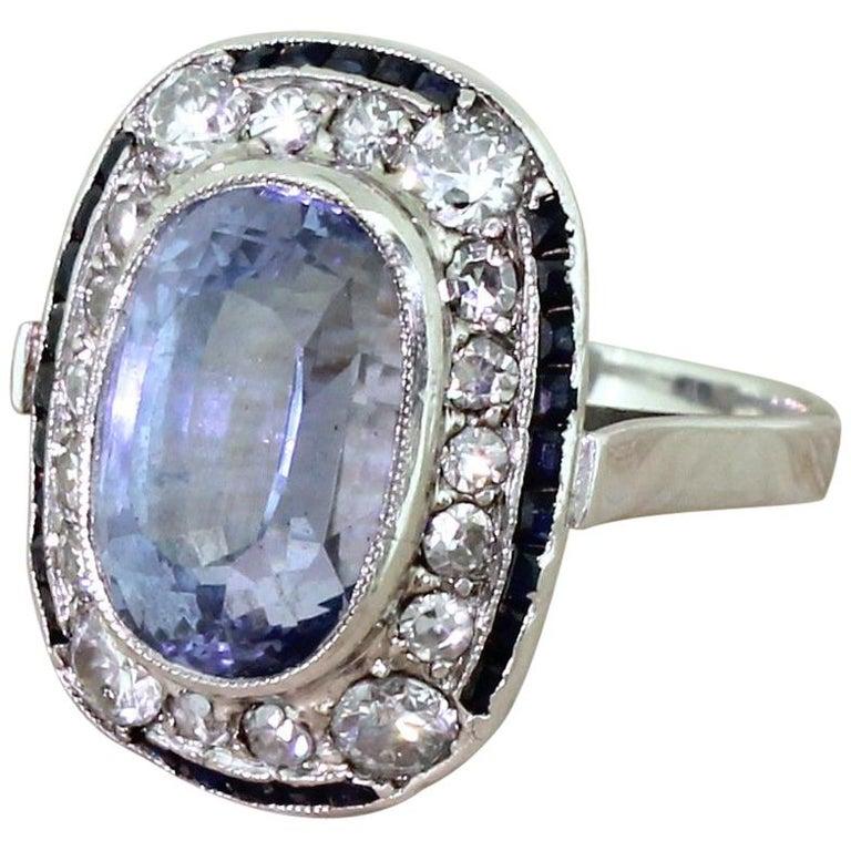 Art Deco 8.68 Carat Natural Ceylon Sapphire and Diamond Cluster Ring