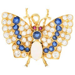 Bailey Banks & Biddle Victorian 3.50 Sapphire Opal Gold Butterfly Pendant Brooch