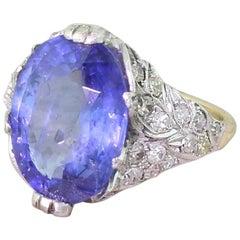 Art Deco 8.23 Carat Natural Ceylon Sapphire Ring