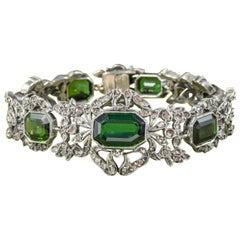Antique Edwardian Green Tourmaline Diamond Bracelet Silver, circa 1910