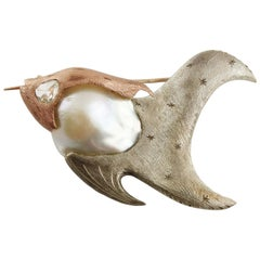Diamonds Pearl Rose Gold and Silver Fish Shape Brooch