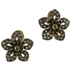 Diamonds Emeralds Rose Gold and Silver Flower Shape Clip-On Earrings