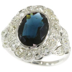 French Art Deco Belle Époque Engagement Ring with Diamonds and Natural Sapphire