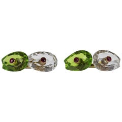 Carved Rock Crystal and Peridot Cufflinks