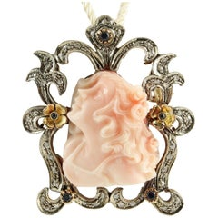Diamond Blue Sapphire Pink Coral Face Sculpture Rose Gold Silver Pendant/Brooch