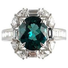 1.84 Carat Exotic Green Tourmaline and Diamond Cluster Ring in 18 Karat Gold