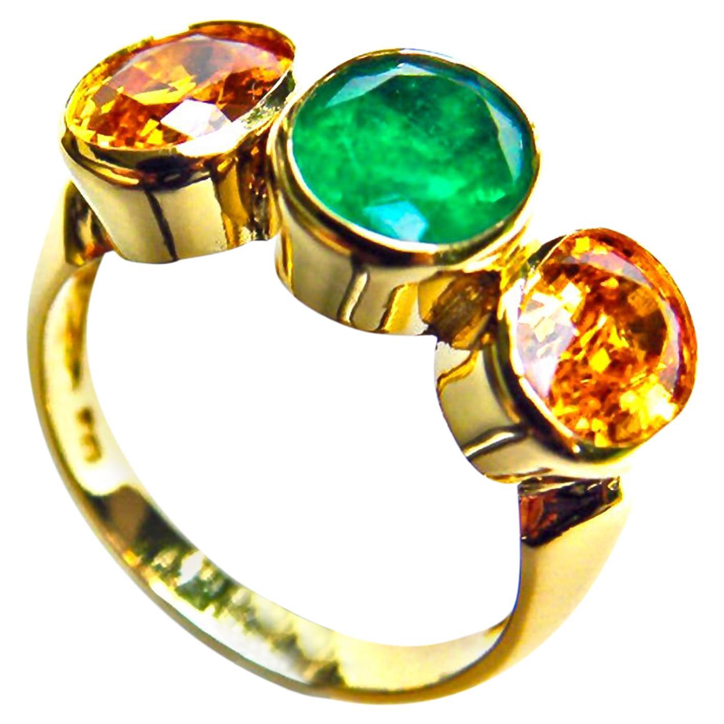 Sapphire and Emerald Three Stone Ring 18 Karat Gold