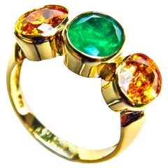 Sapphire and Emerald Three Stone Ring 18 Karat Gold