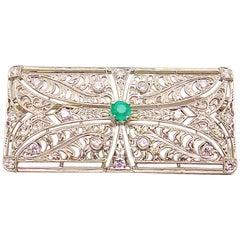 Diamond and Emerald Brooch