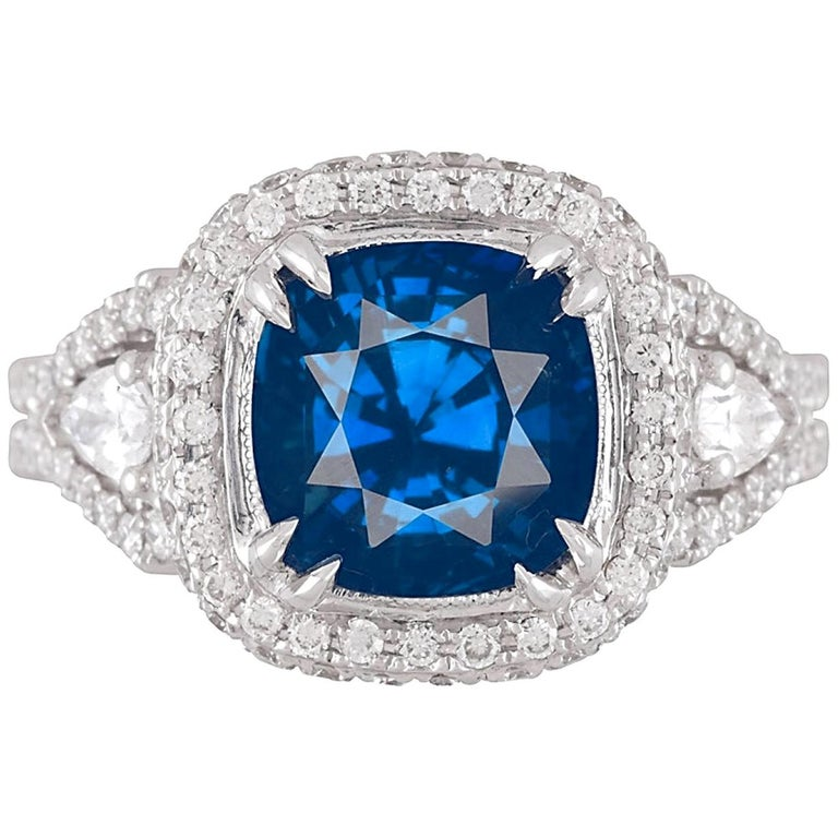 GIA Certified 3.59 Carat Cushion Cut Blue Sapphire and Diamond Ring For Sale