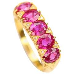 Victorian Five Stone Ruby Diamond 18 Karat Gold Ring