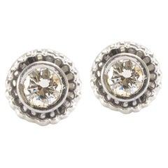 Solid 14 Karat White Gold Genuine Diamond Earrings 1.60 Carat 5.6g