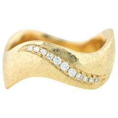 Aimee Kennedy, Diamond Pave 14 Karat Gold Hammered Ring