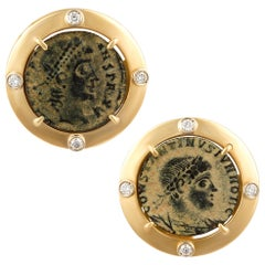 Ella Gafter Antique Copper Coin Cufflinks Yellow Gold Diamonds