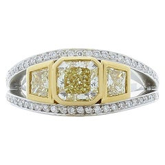 GIA Certified 1.07 Carat Yellow Diamond Platinum Cocktail Ring