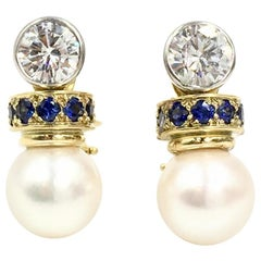 Diamond, Blue Sapphire and Pearl Drop Platinum and 18 Karat Earrings
