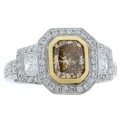 GIA Certified 1.20 Carat Radiant Cut Cinnamon Diamond Platinum Cocktail Ring
