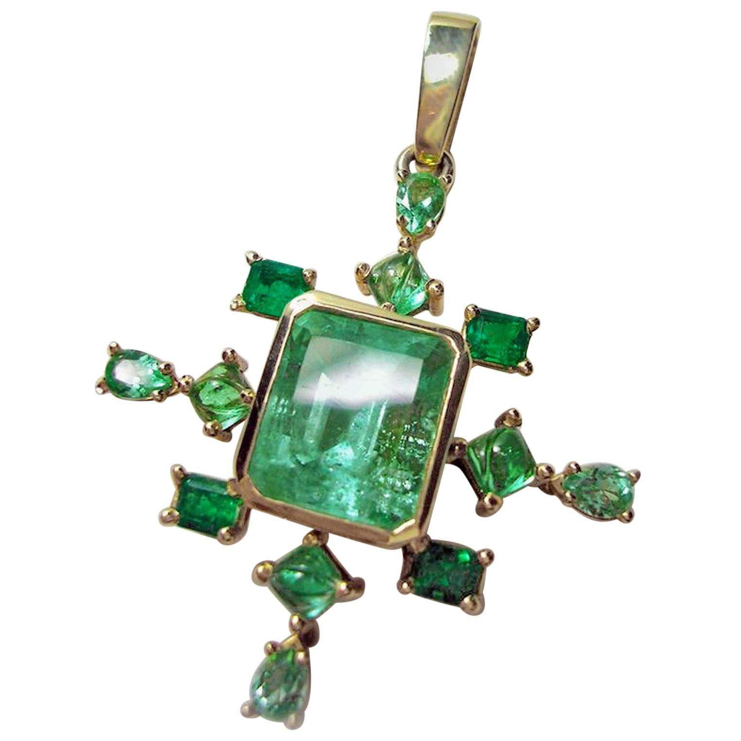 7.40 Carat Natural Colombian Emerald Drop Pendant 14K Gold