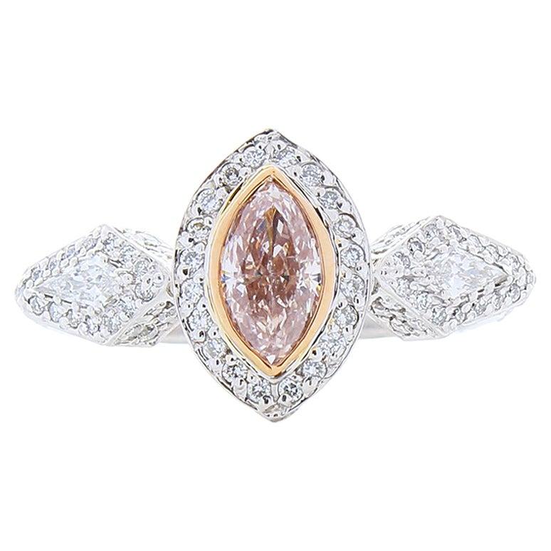 GIA Certified 0.73 Carat Natural Pink Marquise Diamond Cocktail Platinum Ring