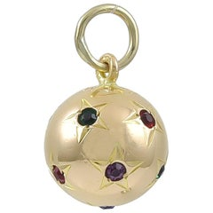 Antique Gold Gemset Lucky Star Globe Charm