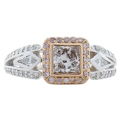 GIA Certified 0.51 Carat Fancy Light Brown-Pink Diamond Platinum Cocktail Ring