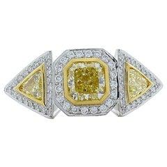 1.21 Carat Fancy Yellow Radiant Diamond Platinum Cocktail Ring