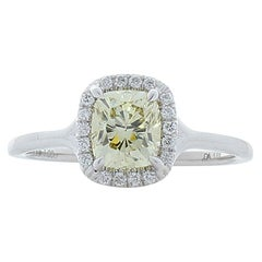 GIA Certified 1.00 Carat Fancy Light Yellow Cushion Diamond Cocktail Ring