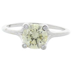 GIA Certified 1.24 Carat Fancy Light Yellow Round Diamond Cocktail Ring