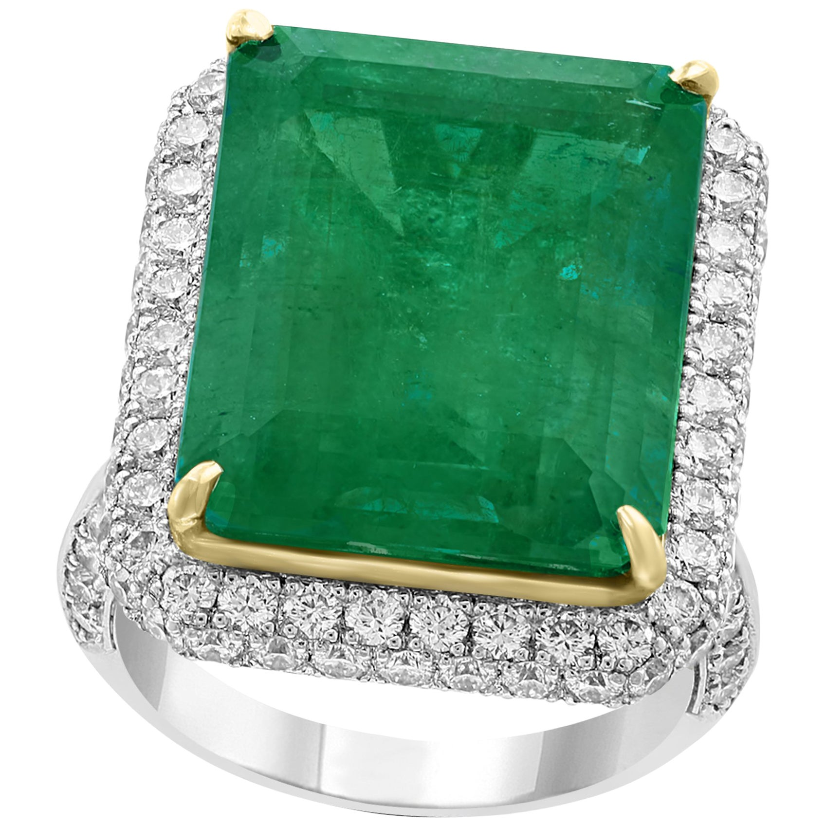 AGL Certified  13.10 Ct  Emerald Cut Colombian  Emerald  Diamond 18K Gold Ring