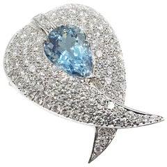 Aquamarine Diamond Platinum Pendant Brooch