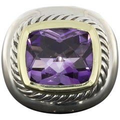 David Yurman Vintage Albion Gold and Silver Cushion Cut Amethyst Ring