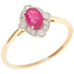 Ruby 0.66 Carat Diamond 18 Carat Yellow/White Gold Ladies Dress Ring