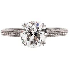 2.42 Carat Old Euro Cut Diamond Engagement Ring