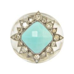 Modern Rock Crystal Turquoise Diamond Sterling Statement Ring