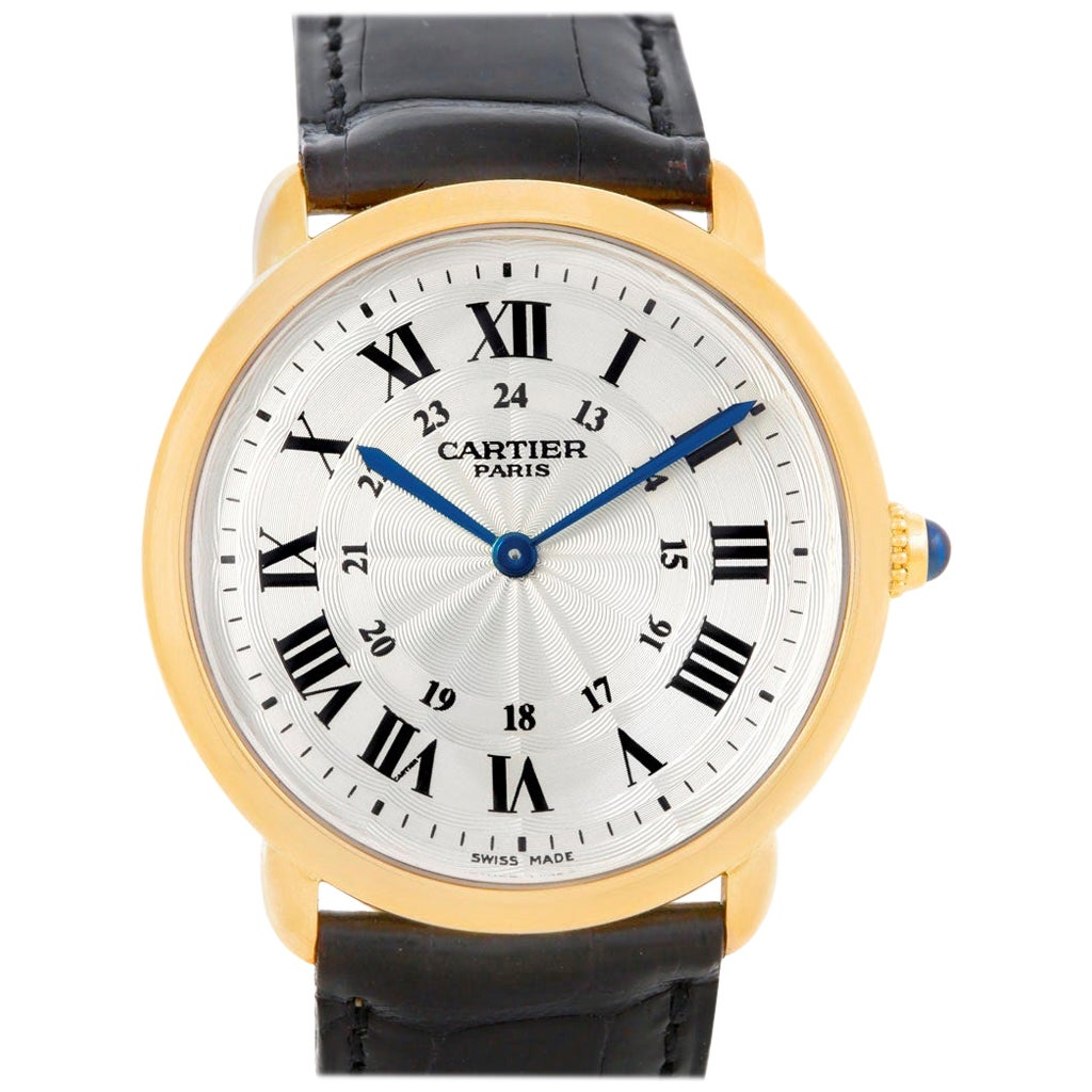 Cartier Ronde Louis Privee 18 Karat Yellow Gold Mechanical Men's Watch