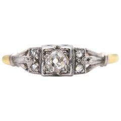 Antique Edwardian Diamond Engagement .25 Carat 18 Karat Gold Minecut Ring