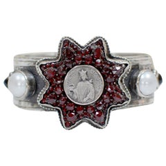 Jill Garber Antique Sacred Heart Medal within Rose Cut Garnet Star Cuff Bracelet