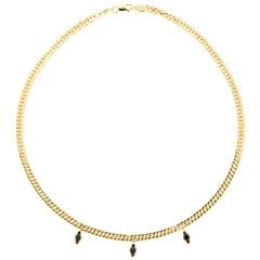 18 Karat Gold and 0.46 Carat Black Diamonds Rockstar Necklace, Alessa Jewelry