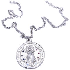 Miraculous Medal Virgin Mary Round Silver Necklace Ruby Blue Sapphire J DAUPHIN