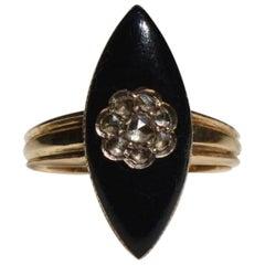 Victorian Diamond Mourning Black Enamel Rosecut .70 Carat 18K Gold Navette Ring