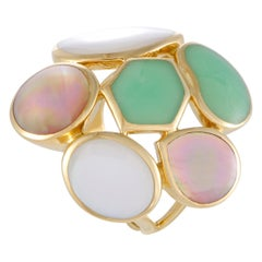 Polished Rock Candy Yellow Multicolored Stones Large Cocktail Ring