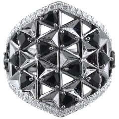 18K White Gold & 1.12 cts Black, 0.62 cts white Diamonds Shield Ring by Alessa