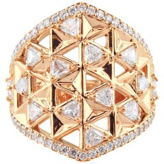 18 Karat Rose Gold and 1.71 Carat Colorless Diamonds Shield Ring, Alessa Jewelry