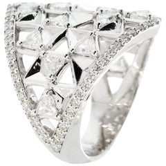 18K White Gold & 1.71 cts Colorless Diamonds Shield Ring by Alessa Jewelry