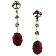 7.30 Carat Rubies Diamonds Rose Gold and Silver Dangle Earrings