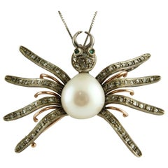 Diamond Emerald Pearl Rose Gold and Silver Spider Shape Pendant Necklace/Brooch
